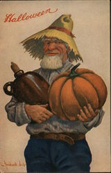 Man in a straw hat holding a pumpkin and a jug for Halloween