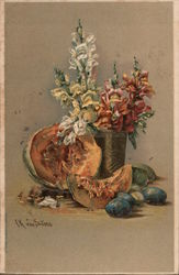 Still Life of Flowers and Fruit Postcard