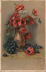 A Vase of Flowers on a Table with Bluberries Postcard