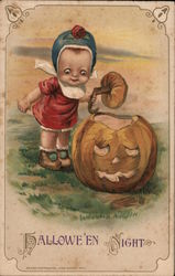 Baby and Carved Pumpkin: Hallowe'en Night Postcard
