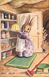 Mother Bunny Putting Up Dessert in Cupboard