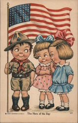 Boy Scout Holding American Flag