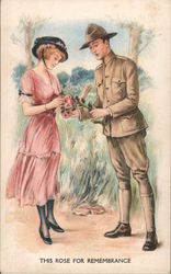 THIS ROSE FOR REMEMBRANCE - Woman Picking a Rose from a Soldier