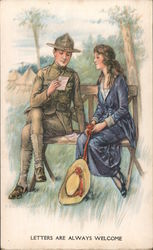 Soldier and Girl Sitting on Bench