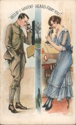 Woman and Soldier Talking on Phone