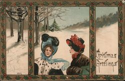Christmas Greetings - Two Women in the Snow