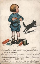"Child with black cat and firecrackers -- ""Don't go"""