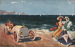 Fancy Women and Car on a Beach