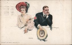 Woman Teasing Man Postcard
