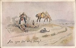 Cowboy Drunk Looking at Rattler Postcard