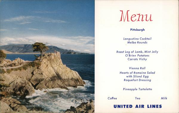 United Airlines Menu, Lone Cypress Point Monterey California