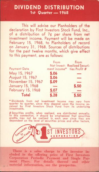 1st Investors Corporation - Dividend Distribution, 1st Quarter, 1968