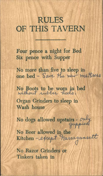 Rules of this Tavern: Griswold Inn Essex Connecticut