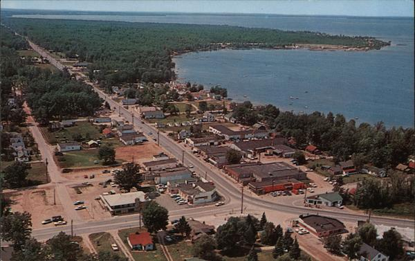 Aerial View of Town along the Coast Prudenville Michigan