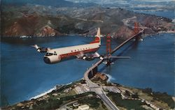 "Western Airlines ""Electra"" over Golden Gate Bridge"