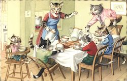 Dressed Cats at Dining Table