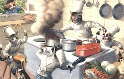 Cats Cooking in Kitchen