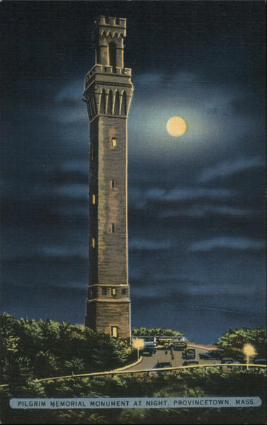 Pilgrim Memorial Monument at Night Provincetown Massachusetts