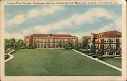Campus View Showing Montgomery Hall and Cambridge Hall, Muskingum College