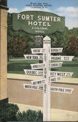 World Sign Post, Fort Sumter Hotel Postcard