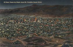 El Paso by Night, From Mt. Franklin Scenic Drive Postcard