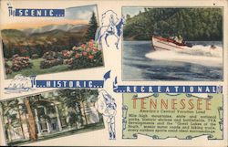 Scenic, Historic, Recreational Tennessee Postcard