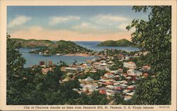 City of Charlotte Amalie as seen from Denmark Hill, St. Thomas, USVI Postcard