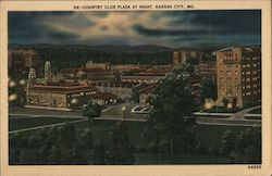 Country Club Plaza at Night Postcard
