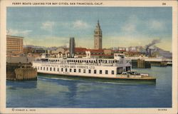 Ferry boats leaving for bay cities