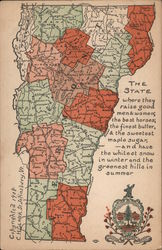 Map of Vermont Postcard
