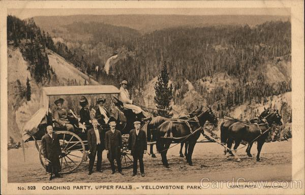 Coaching Party, Upper Falls - Yellowstone Park Yellowstone National Park