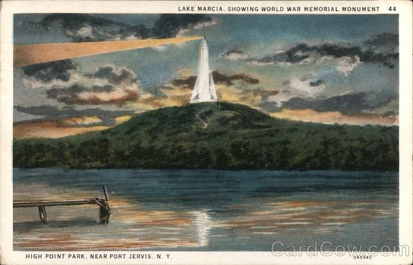 Lake Marcia, Showing World War Memorial Monument Port Jervis New York