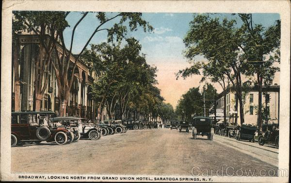 Broadway, Looking North from Grand Union Hotel Saratoga Springs New York