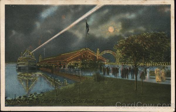 Night Boat Leaving Dock Cedar Point Ohio