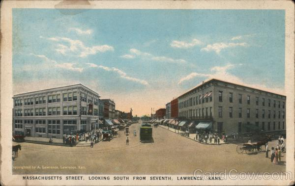 Massachusetts Street, Looking South from Seventh Lawrence Kansas