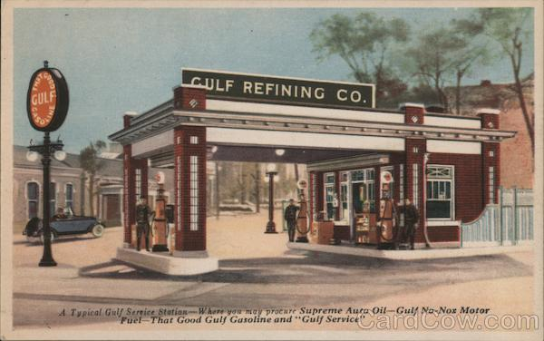 Gulf Refining Co. A typical Gulf Service Station Gas Stations