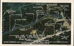 Map of the Under Water Scenes of Silver Springs Postcard