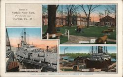 Scenes at Norfolk Navy Yard Postcard