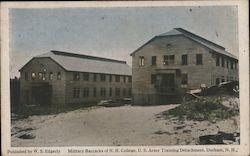 Military Barracks of N.H. College, U.S. Army Training Detachment Postcard