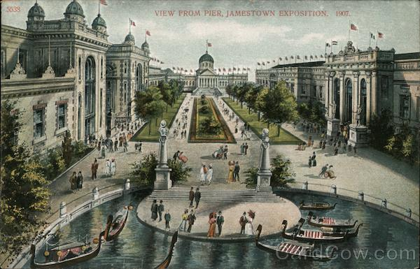 View from pier, Jamestown Exposition 1907 Virginia