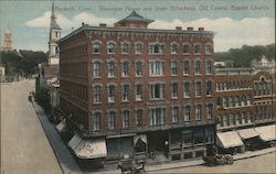 Wagregan House and Lower Broadway, Old Central Baptist Church Postcard