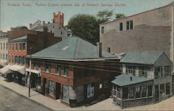 Parlin's Corner, Present Side of Norwich Savings Society Postcard