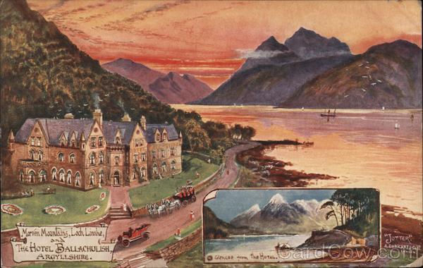 Marven Mountains, Loch Linnhe and The Hotel Ballachulish, Argyllshire Scotland