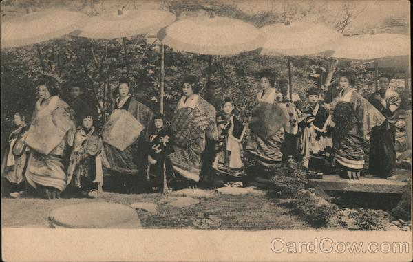 Japanese women and Children in traditional dress