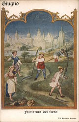 June Hay Mowing in June, Miniature from the Breviario Grimani