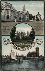 City Hall and Law Courts, Cardiff Castle from N.W, Entrance to Bute Docks