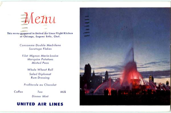 United Airlines Menu Aircraft