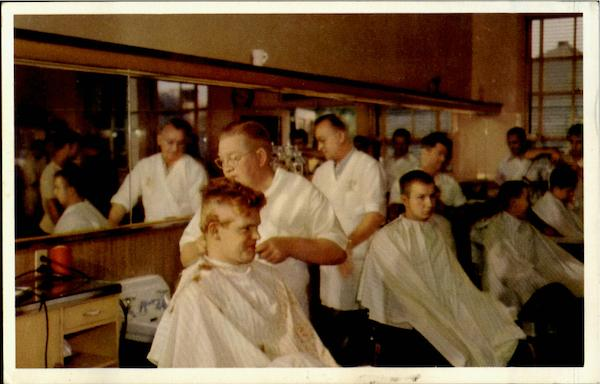 RECRUIT BARBER SHOP FIRST HAIRCUT, United States Naval Trading Center San Diego California