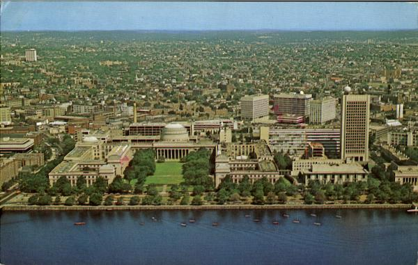 Air view of Massachusetts Institute of Technology and The Charles River Basin Cambridge