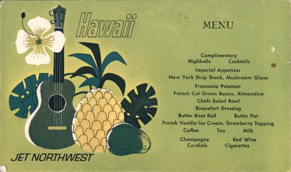 Jet Northwest Hawaii Menu Airline Advertising